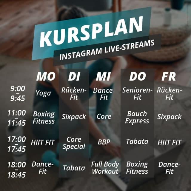 Hier findet Ihr alle Kurse, die wir für Euch live auf Instagram streamen!